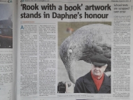 Cornish Guardian feature on Du Maurier sculpture 'the rook with a book'